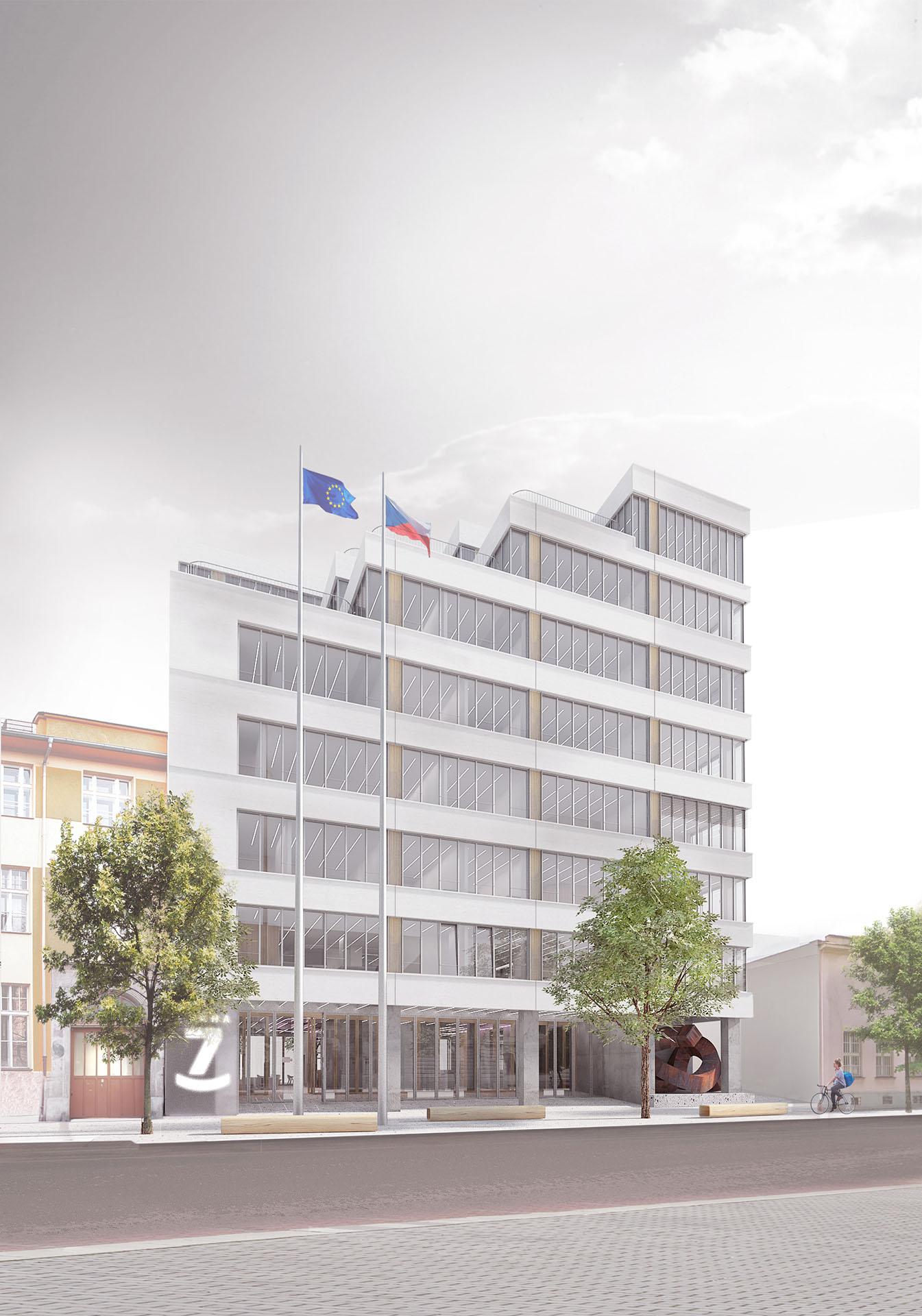 Nová radnice pro Prahu 7 ve vizualizaci soutěžního návrhu