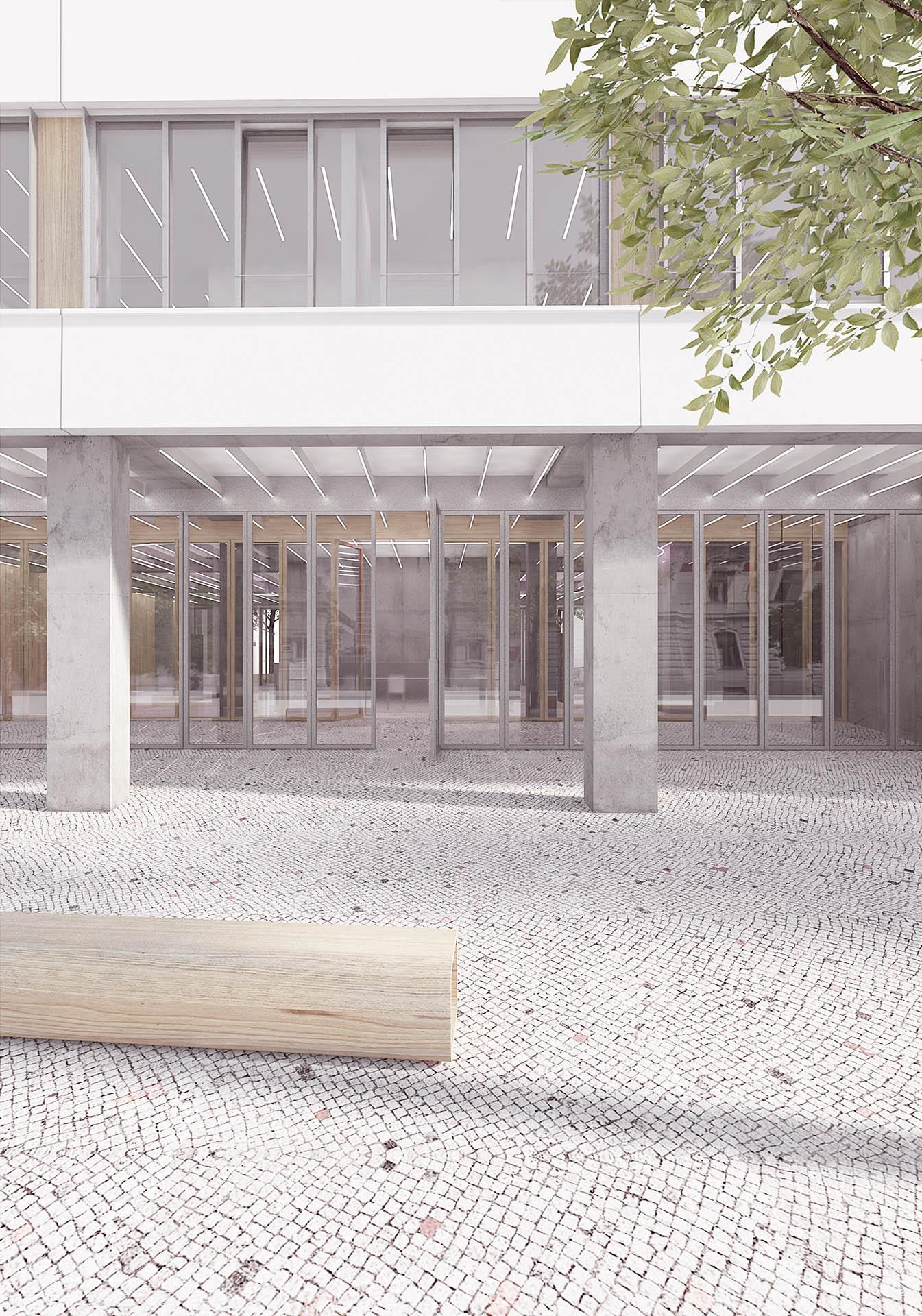 Vizualizace vstupu a parteru nové radnice