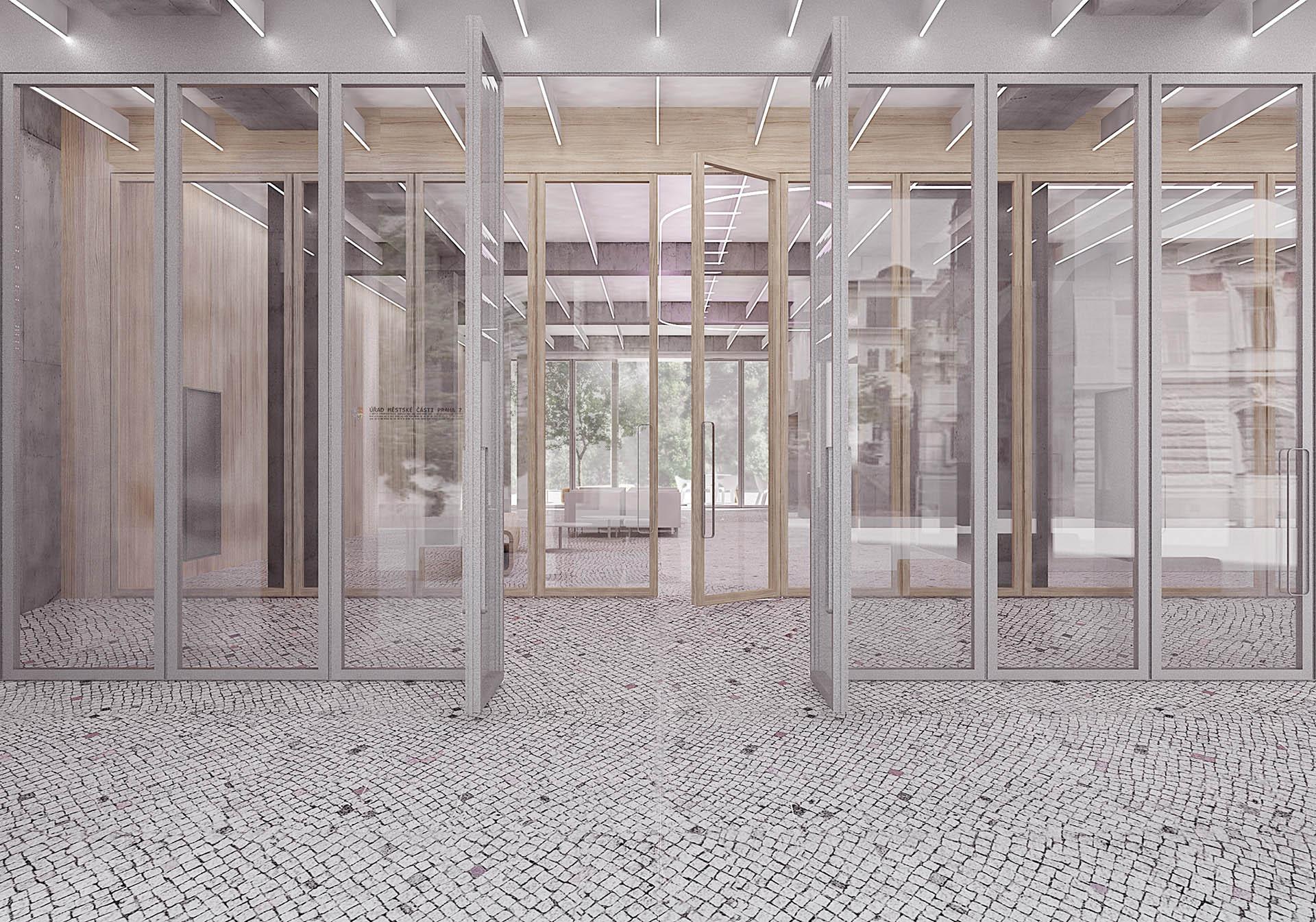 Vizualizace propojení veřejného prostoru a vstupního zádveří radnice