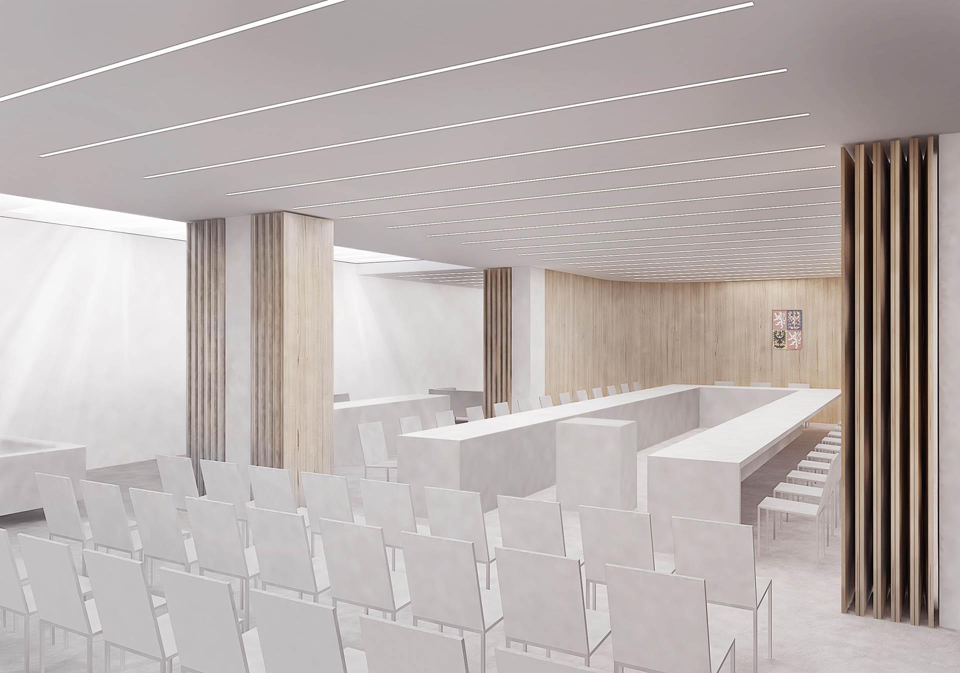 Vizualizace interiéru nového zasedacího sálu radnice Prahy 7