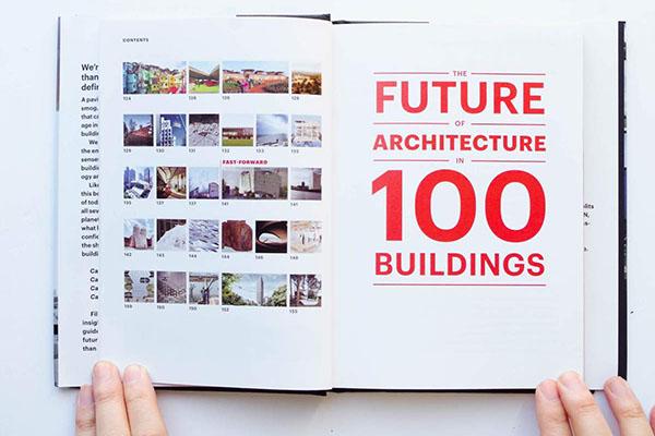 Titulní strana knihy Future of architecture in 100 buildings s textem o Lesní útulně