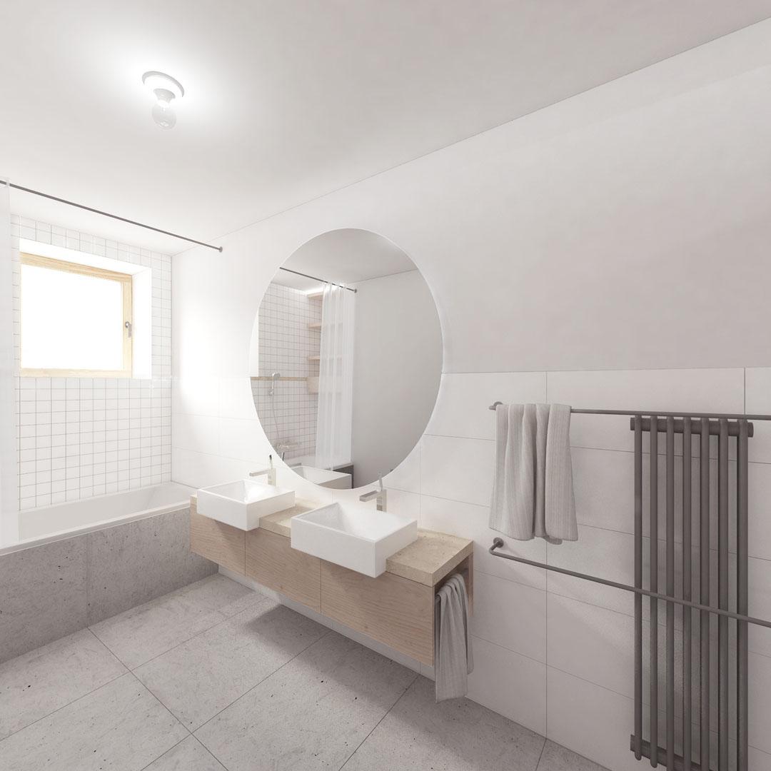 Vizualizace velké koupelny ve vile v Pozlovicích