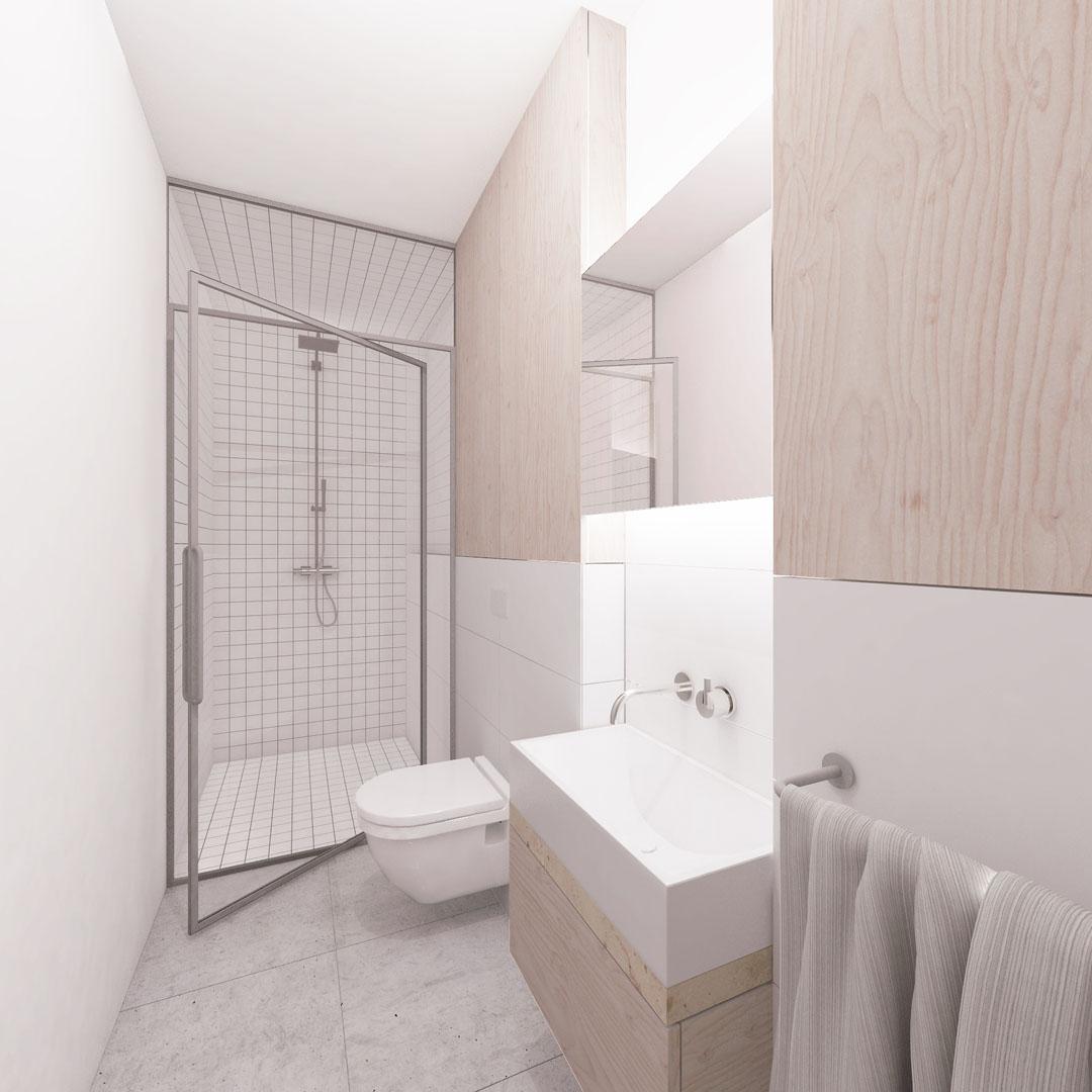 Vizualizace malé koupelny ve vile v Pozlovicích