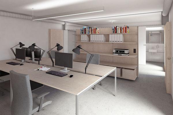 Návrh interiéru kanceláře v suterénu vily v Pozlovicích