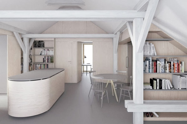 studie interiéru podkrovního bytu ve vile v Pozlovicích