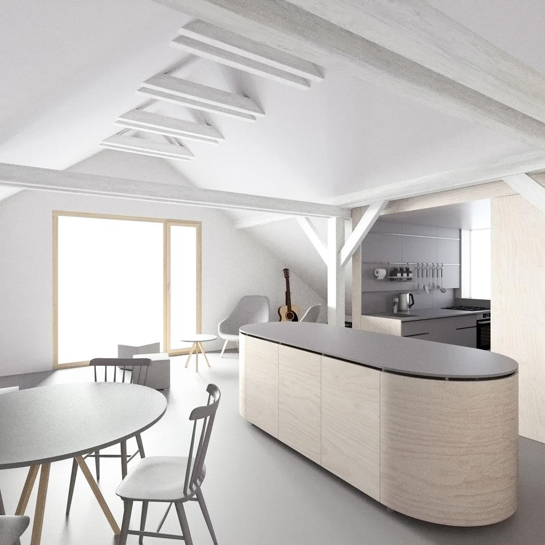 Vizualizace interiéru s pohledem na hlavní obytný prostor a kuchyňský kout v podkroví