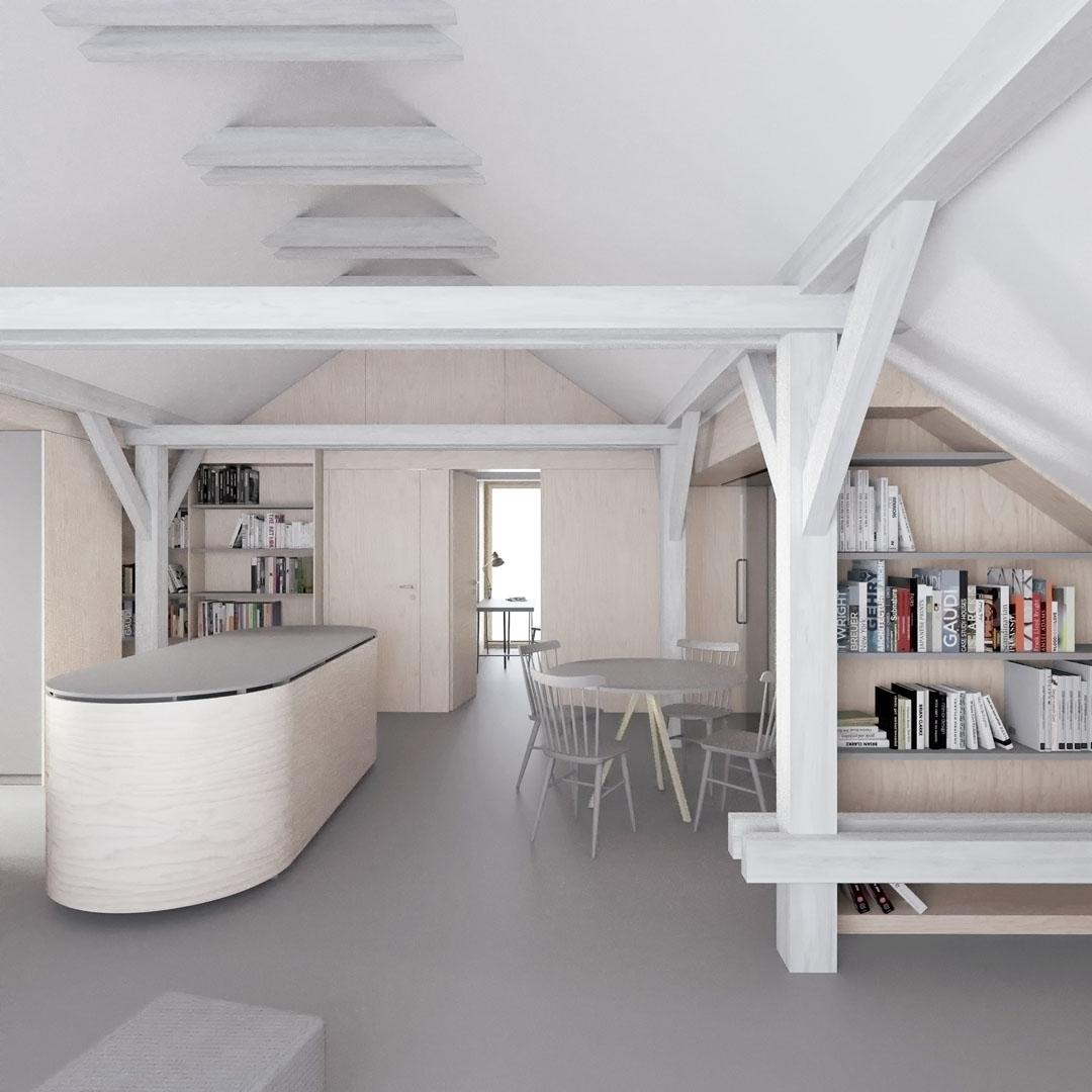 Vizualizace interiéru podkroví ve vile v Pozlovicích