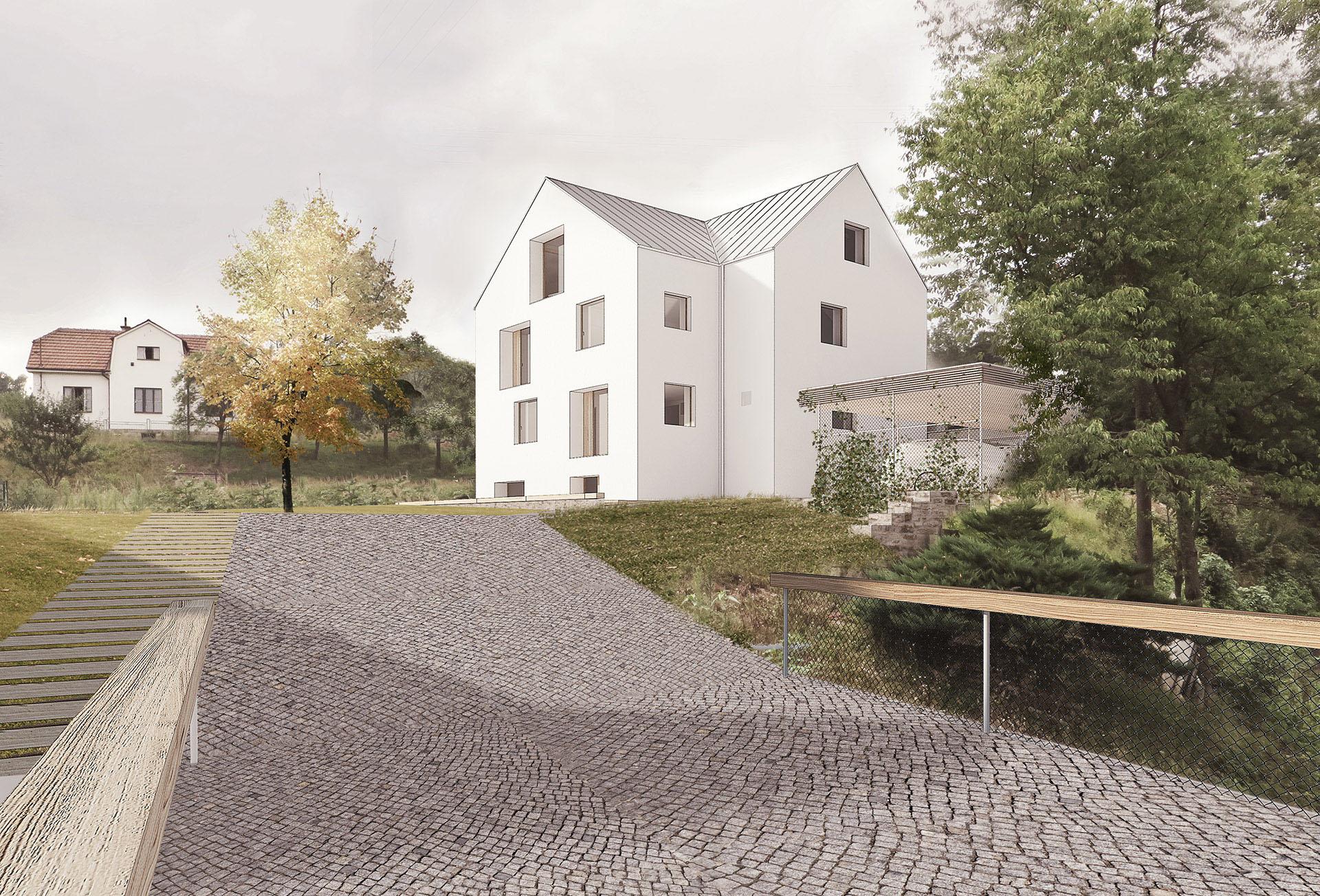 Vila Pozlovice vizualizace návrhu s bílou fasádou a dřevěnými okny