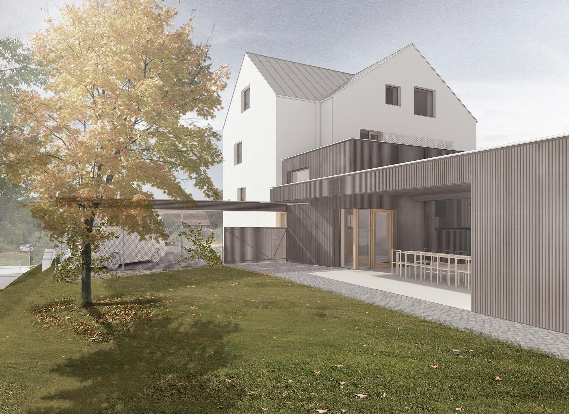 Vila Pozlovice s přístavbou a krytou terasou při pohledu ze zahrady