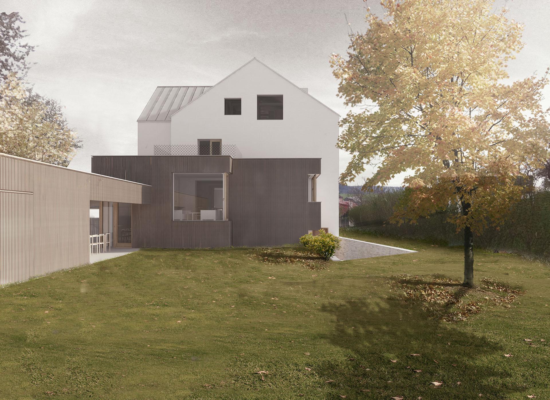 Přístavba vily v Pozlovicích s fasádou z modřínových latí