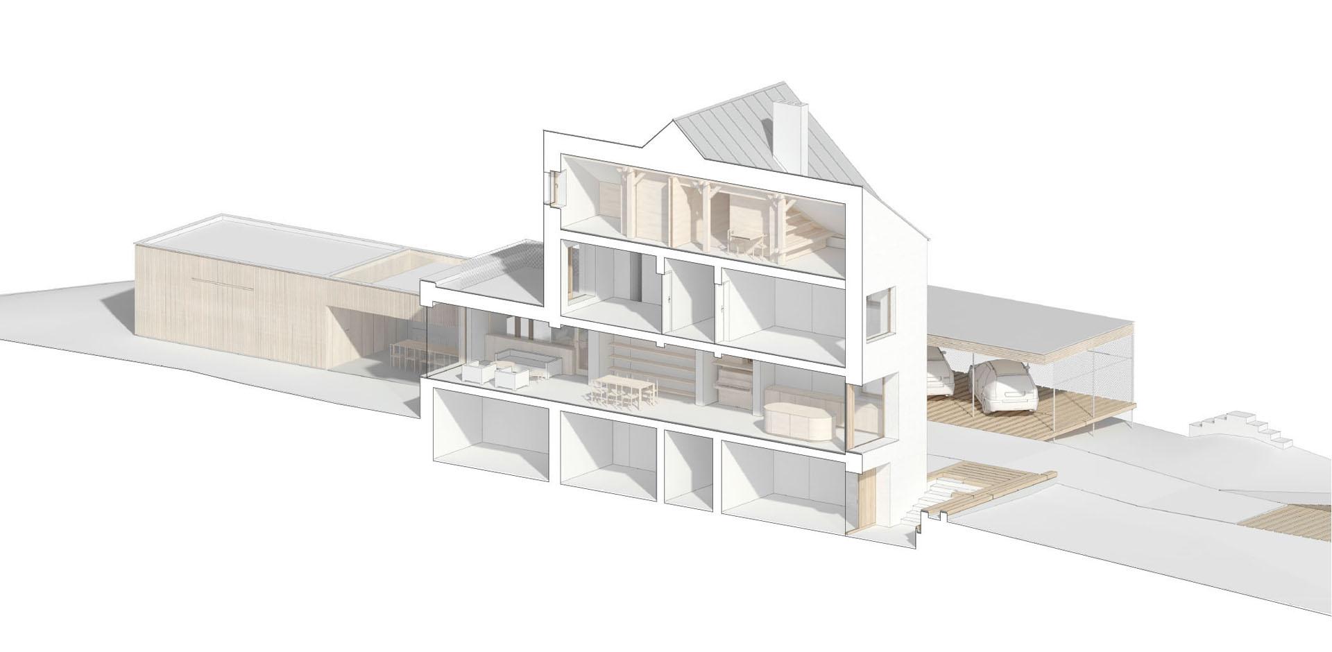 Podélný prostorový řez stávající vilou a novou přístavbou