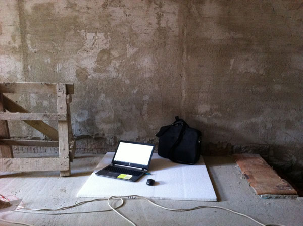 Mobilní kancelář na stavbě búdy ve Vlčnově