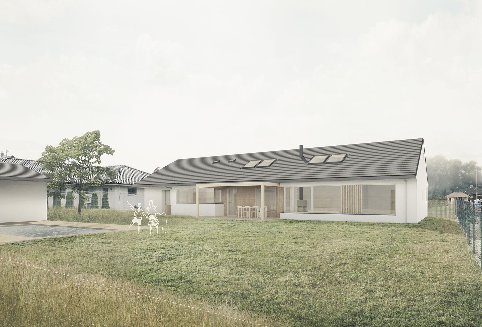 Vizualizace domu v Nivnici z pohledu ze zahrady