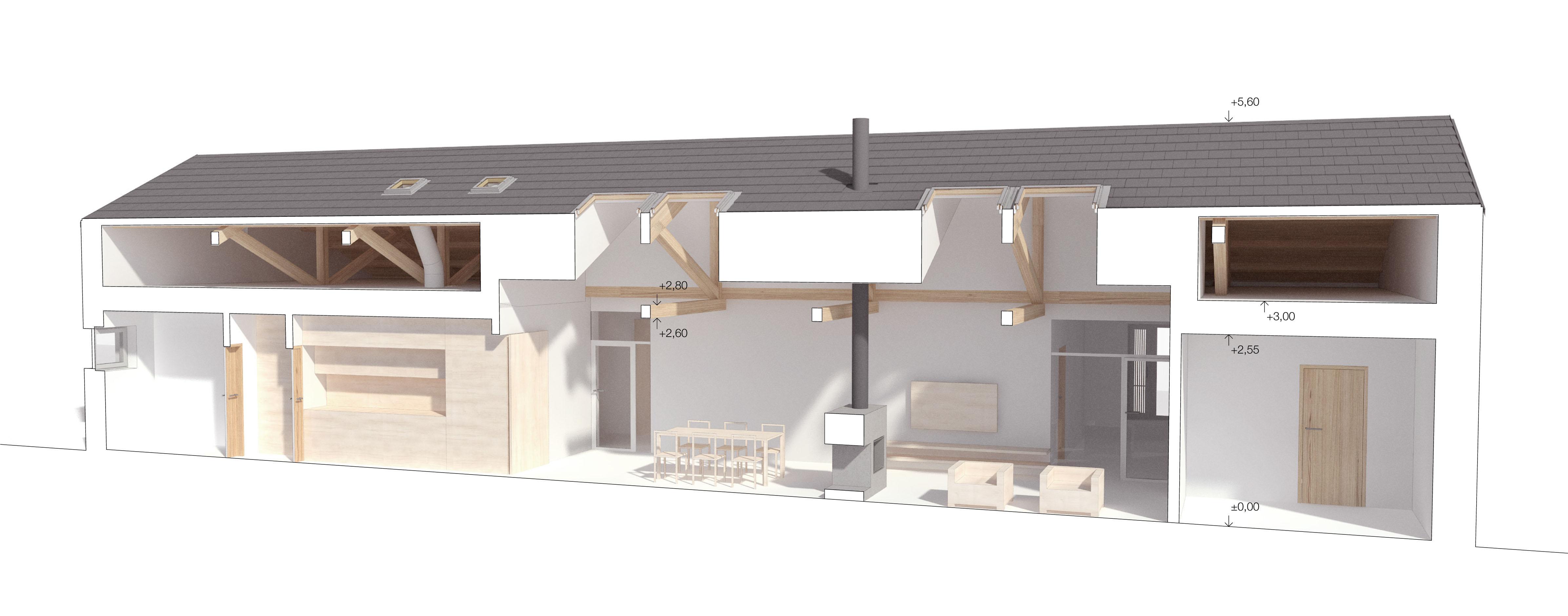 Podélný prostorový řez domem