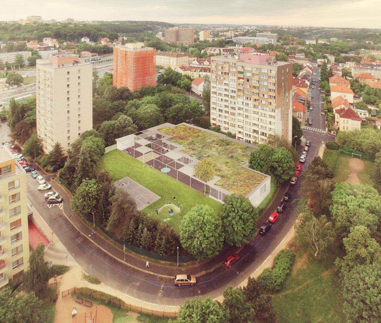 Zákres návrhu školky do nadhledové fotografie Vokovic