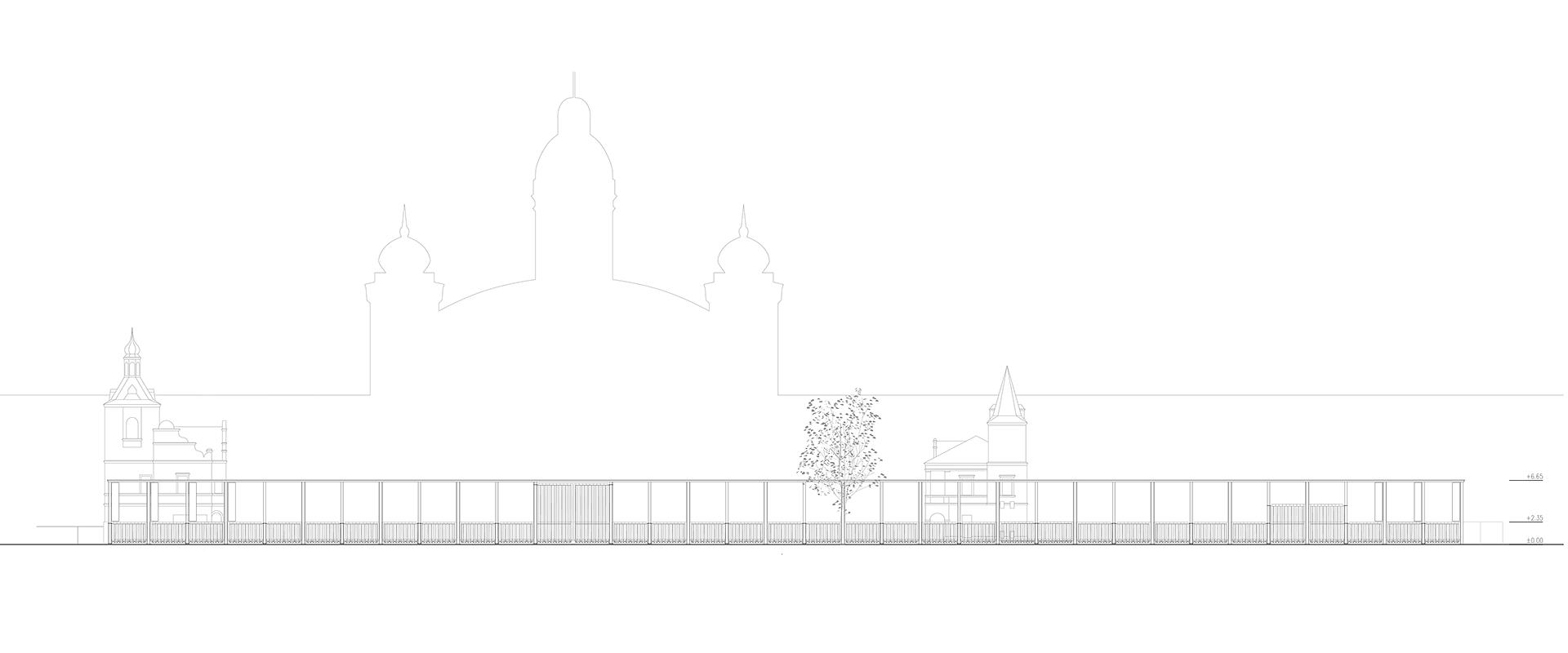 Čelní pohled na vstupní bránu pro výstaviště Praha Holešovice