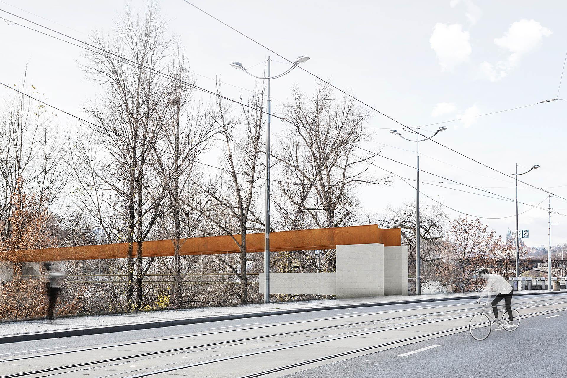Vizualizace návrhu předpolí lávky v prostoru Holešovického nábřeží