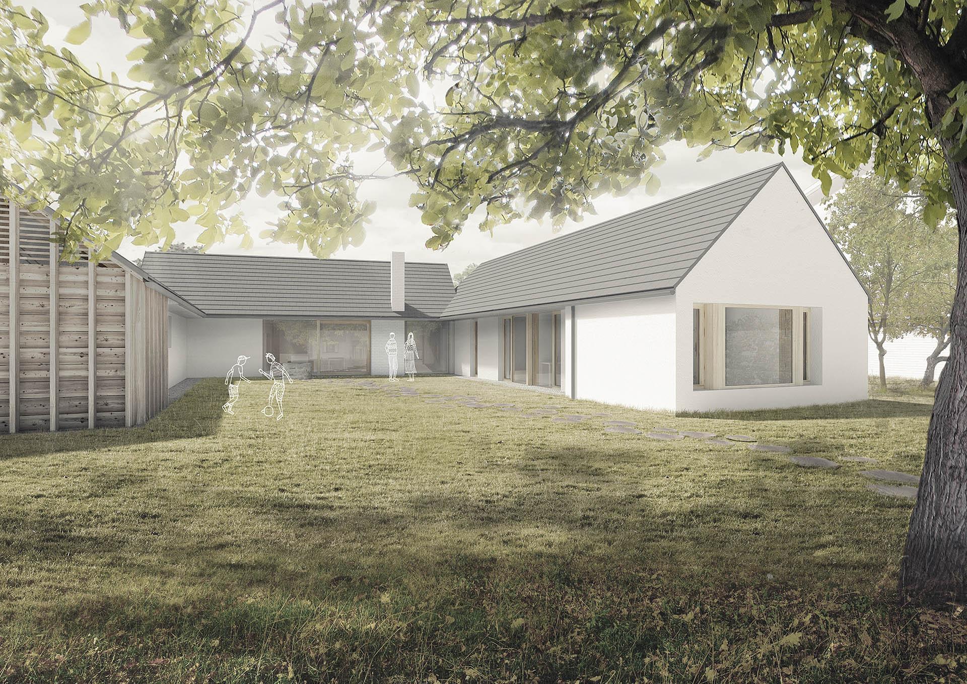 Rodinný dům Slavkov z pohledu ze zahrady