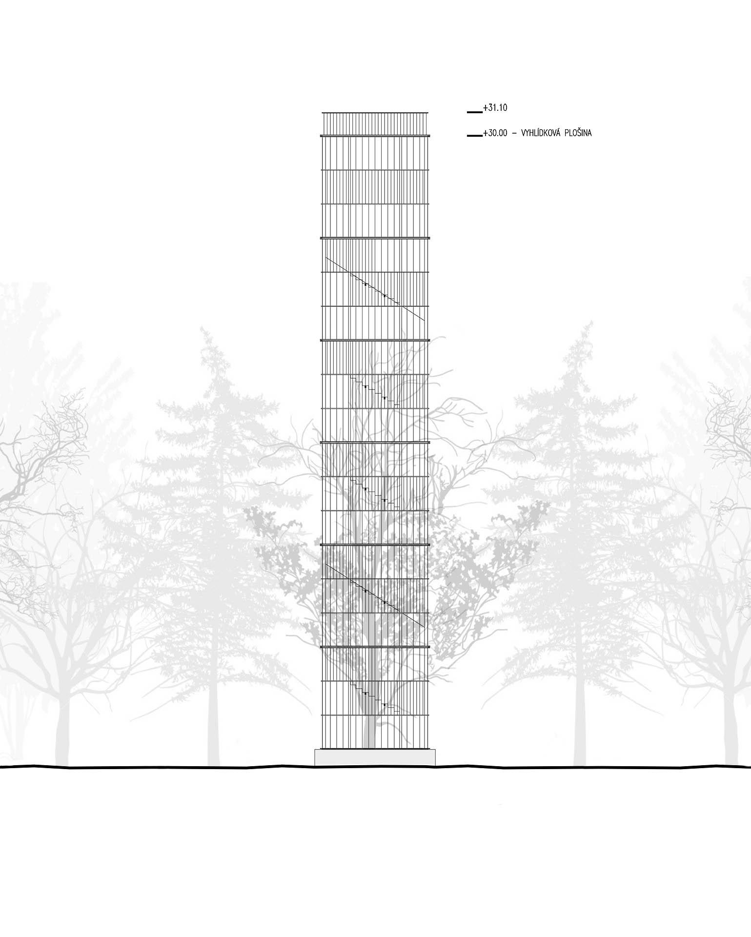 Schematický architektonický pohled na rozhlednu